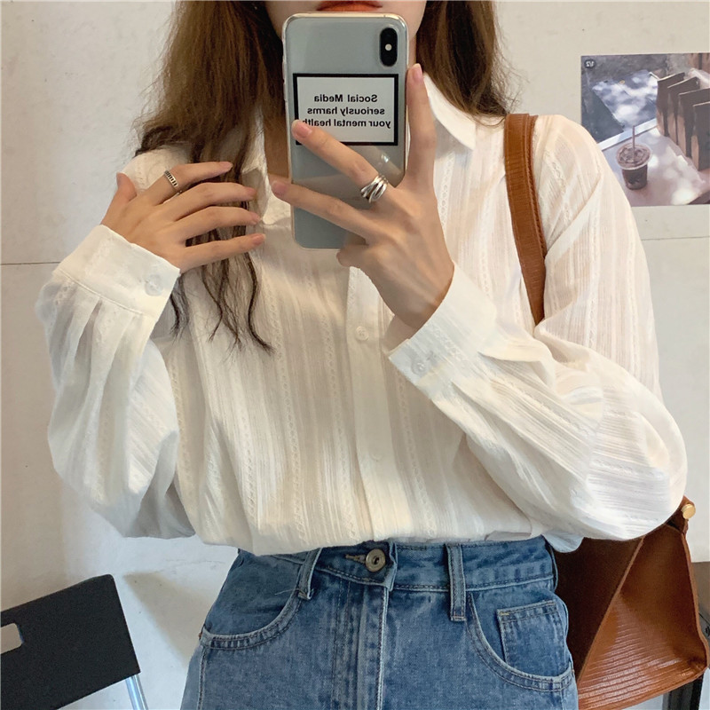 H14f17bb0b62341f6a9beb9c2437072b0F - Spring / Autumn Turn-Down Collar Long Sleeves White Striped Blouse