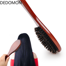 Professional Boar Bristle Hairbrush Massage Comb Anti-static Hair Paddle Brush Beech Wooden Handle Hair Brush Styling Tool
