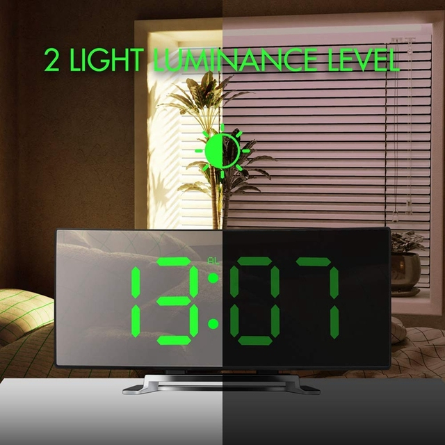 Table Alarm Clock For Room Curved Dimmable LED Sn Electronic Digital desktop Clock for Kids Bedroom Large Number Table Clock 4