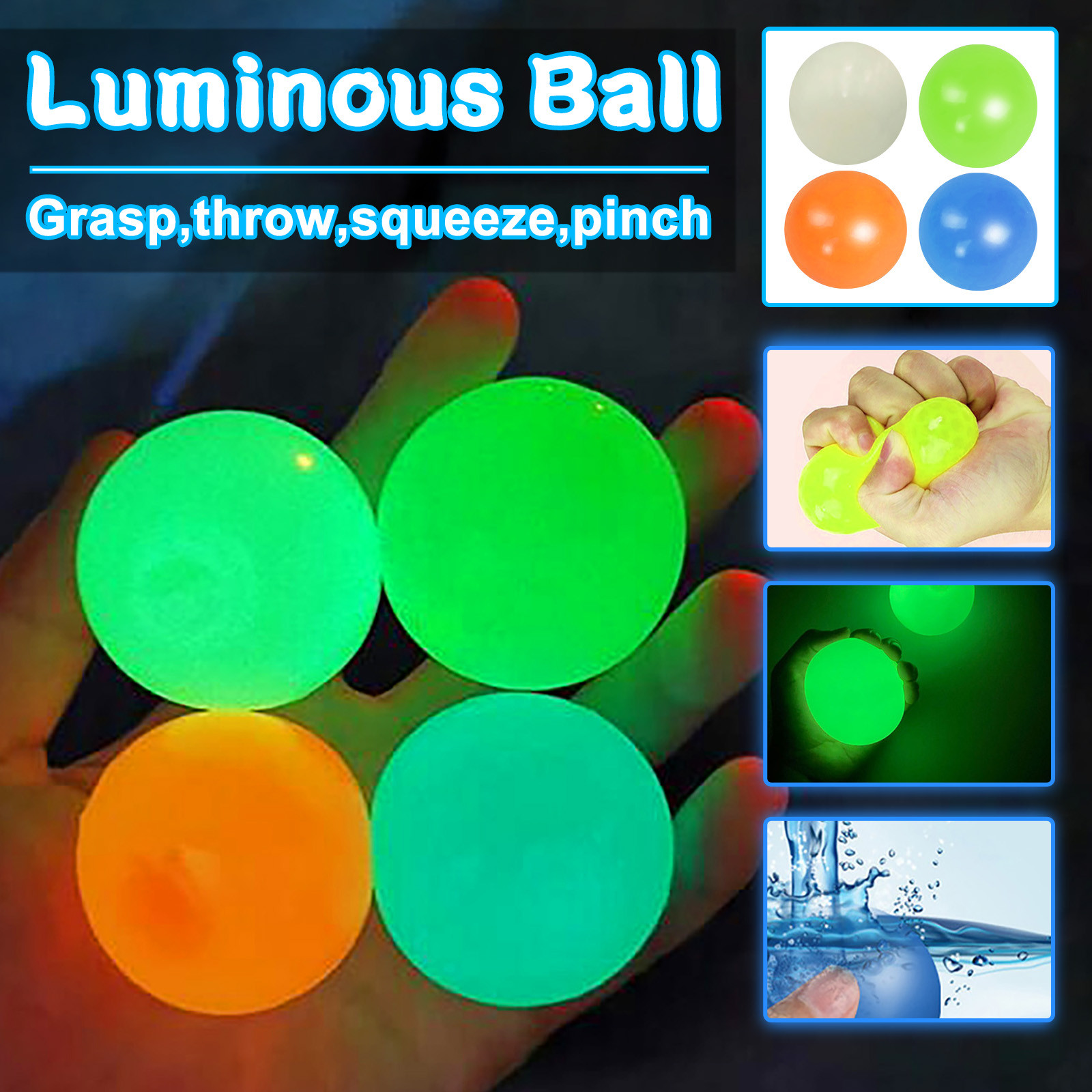 Globbles Stick Wall Ball Fluorescent Toys For Kids Sticky Wall Ball Sticky Target Ball
