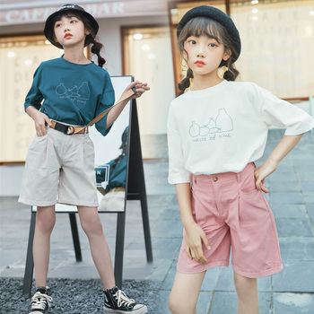 Baby Girls Summer Clothes Set 2020 Print Half Sleeve Top + Pant 2pcs Children Boutique Kids Clothing Teenagers 6 8 9 10 12 14 15
