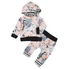Cute Baby Girl Clothes Infant Girls Letter Long Sleeve Striped Leaf Print Hooded Tops +Pant Outfit Casual Newborn Clothes bebes