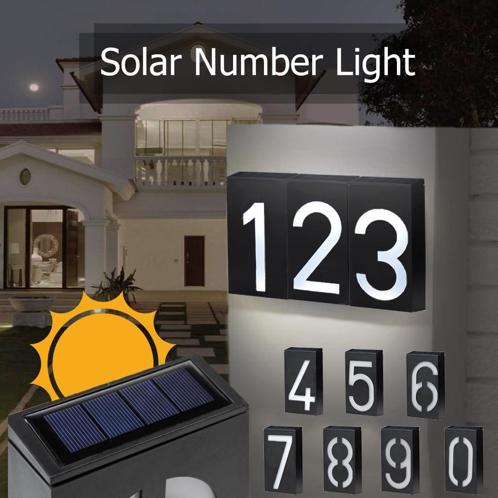 Número da casa luz solar led doorplate endereço número da porta iluminação ao ar livre varanda luzes com bateria recarregável solar