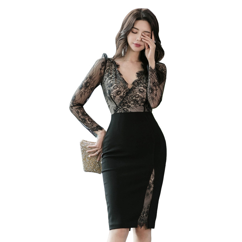 WOMEN'S Dress 2020 Spring Clothing New Products-V-neck Lace Joint High-waisted Slim Fit Slimming Nightclub Skirt