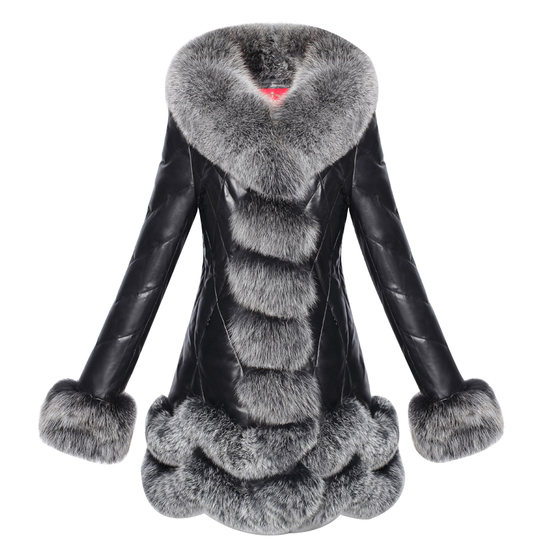 Genuine Leather Jacket Real Sheepskin Coat Female Winter Down Jacket Women Luxury Fox Fur Collar Thick Warm Jackets 820