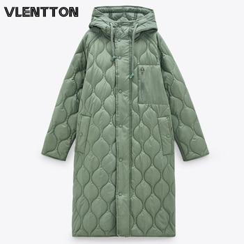 New Autumn Winter Women Vintage Green Parka Jacket Coat Casual Warm Loose Hooded Overcoats Female Oversize Long Outwear Ladies 1