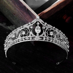 Vintage Bridal Wedding Headband Hair Jewelry Handmade Crystal Alloy Tiara Silver Color Crowns Women Headpeice Hair Accessory XH