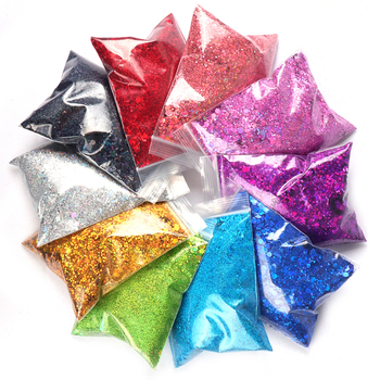 50g/Bag Holographic Nail Glitter Powder Colorful Mixed Size Hexagon Flakes Sequins Nail Art Decorations 6boxes set laser mixed nail glitter powder sequins shinning colorful nail flakes 3d diy charm dust for nail art decorations