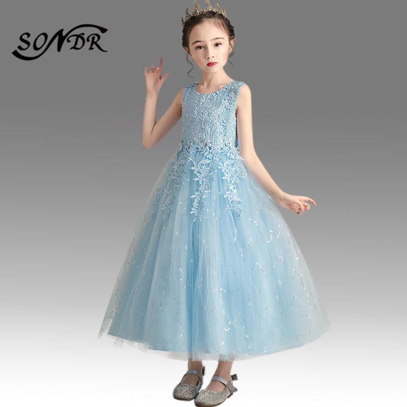 Платья с рюшами и цветочным узором для девочек; Платье торжеств