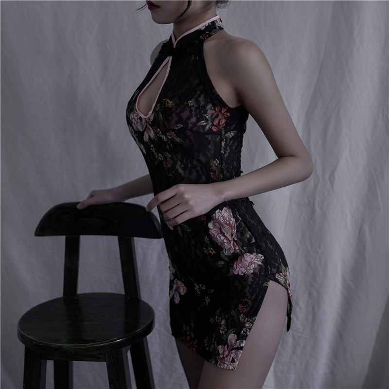 Sexy Lingerie Embroidery Cheongsam Short Dresses Women Traditional Chinese Clothing Qi Pao Orientale Dark Classical Daily Dress