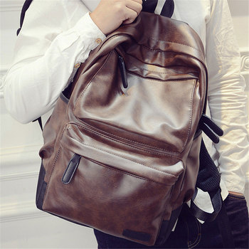Soft PU Leather Backpacks Men Waterproof Travel School Laptop Back Pack Student Simple Solid Preppy Shoulder Bags B016 brand rushed 2018 head layer vintage cow leather teenage womens daily school laptop brown solid travel bag preppy backpacks
