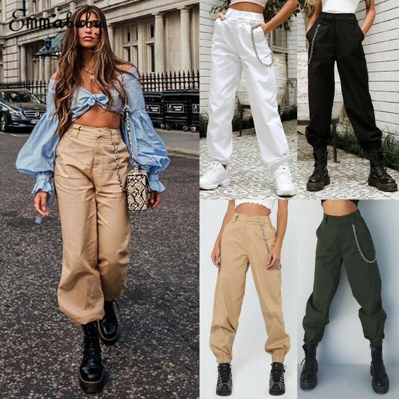 Women Harem Cargo Utility Work Hiking Army Military Pockets Combat Casual Trousers Cotton Solid Punk Loose Long Sports Pants