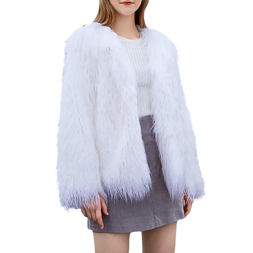 Plus Size Faux Fur Coat Women Winter Fur Jacket White Vintage Plush Lady Warm Fluffy Jacket Coats Overcoat Womens Clothes 2019