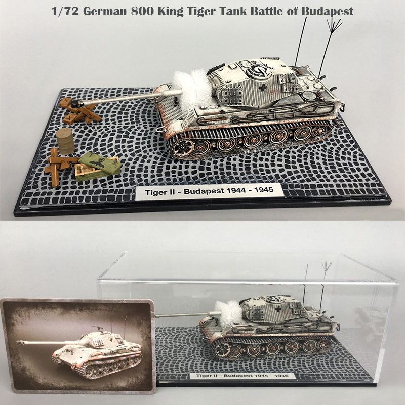 1/72  German 800 King Tiger Tank  Battle Of Budapest  Snow Painting  Aging  Finished Product Collection Model