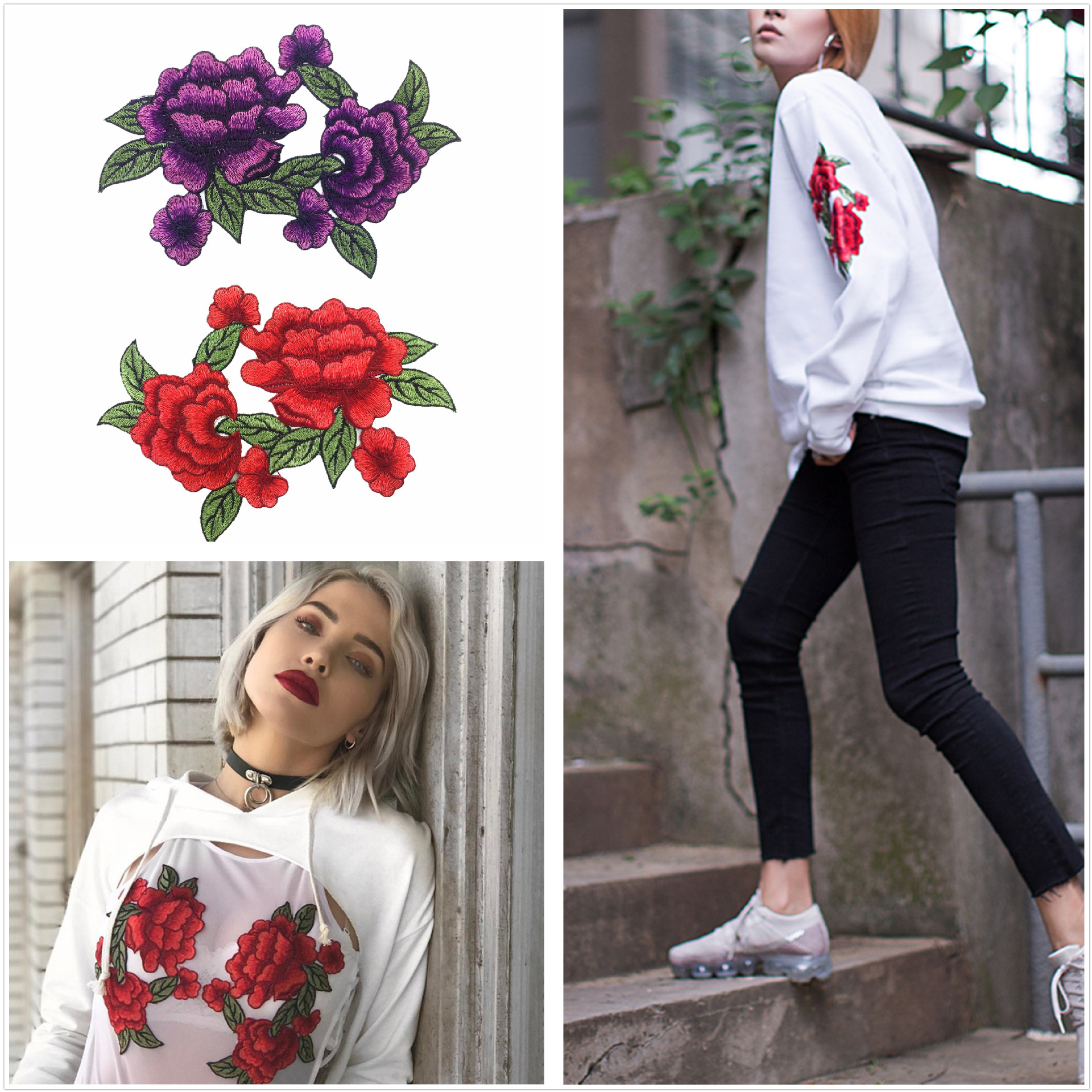 Iron On New Rose Embroidery Patch Sewing Technology  Be Applied To Clothes, Trousers, Skirts, Jackets