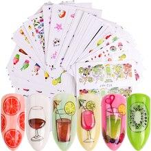 1 Set Nail Art Stickers Transfer Foil Sliders For Nails Flower Fruit Cartoon Design Nail Wraps Decor Manicure Set LASTZ455 512 1