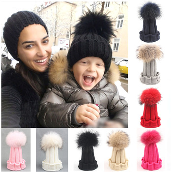 2020 New Fashion Raccoon Fox Fur Hat Girls Boys Real Fur pompoms Ball Baby Beanies Cap Kids Knitted Hats 15CM Ball Cap Wholesale winter women s hats beanies colorful fox fur pompons cap girl wool knitted warm hats thick female gorro fur pompoms bonnet touca