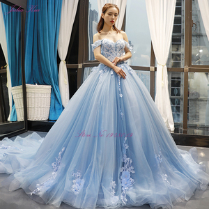 Image 5 - Julia Kui Gorgeous Ball Gown Wedding Dress Sky Blue Color With Elegant Appliques 3D Flowers Wedding Gown Off The Shoulder