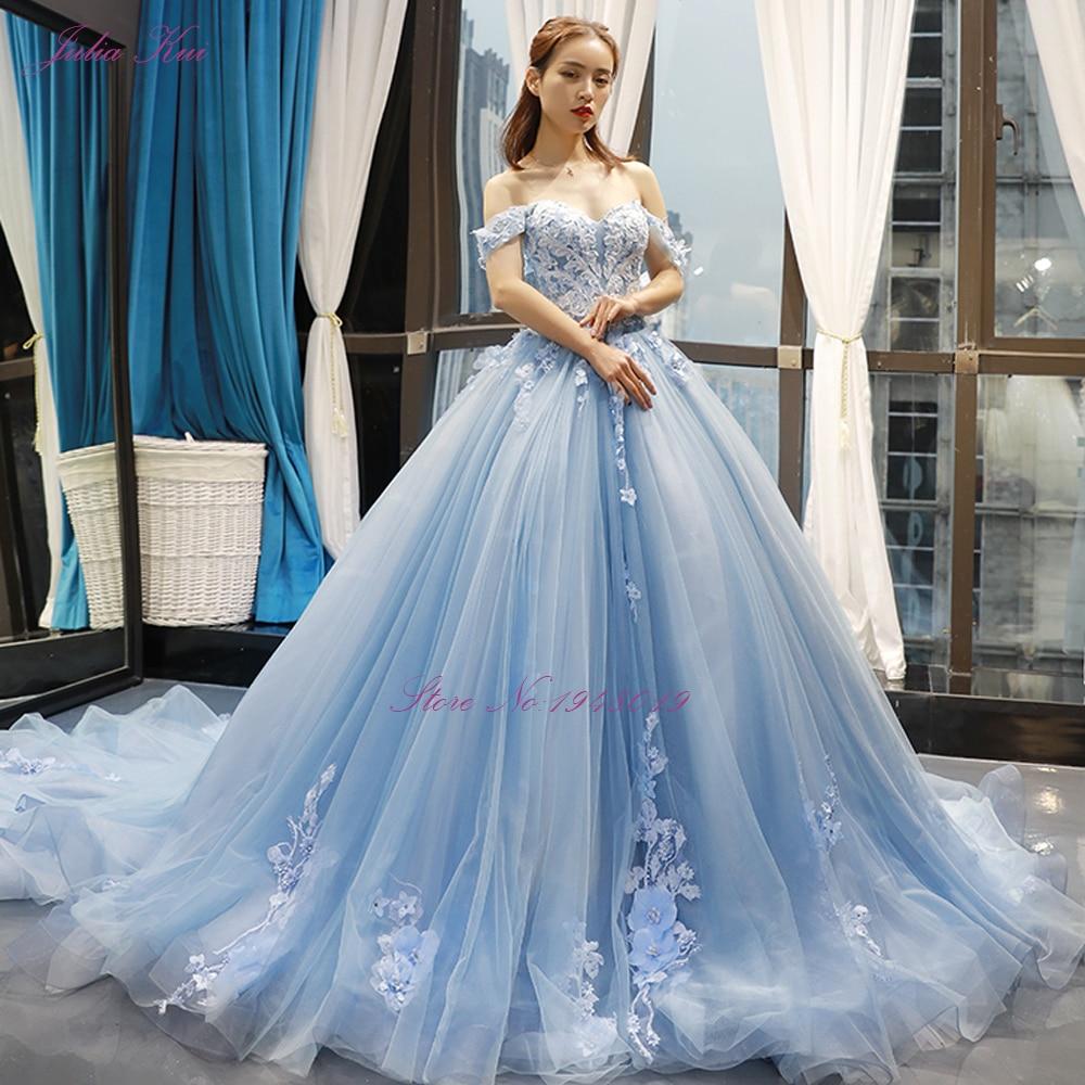 Image 5 - Julia kui lindo vestido de baile vestido de casamento céu azul cor com apliques elegantes 3d flores vestido de casamento fora do ombroVestidos de Noiva   -