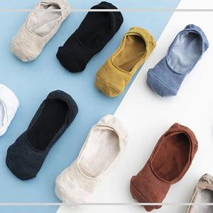 Image 5 - 10 pieces = 5 pairs Womens Cotton Invisible No show Socks non slip Silicone Sock Spring Summer Solid Color felmen Slipper Socks
