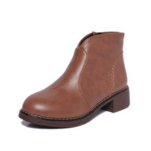Cowhide Leather round toe Winter Boots Western European Stylish concise ankle boots(China)