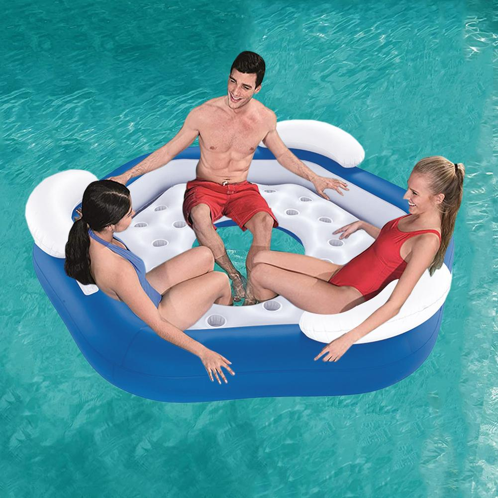 Three People Floating Row Swim Ring Inflatable Swim Float Indoor Outdoor Inflatable Lounge For Men Women Water Fun