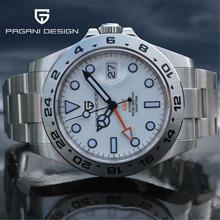 2021 PAGANI Design nowe męskie automatyczne zegarki mechaniczne zegarek GMT 42mm szafirowy wodoodporny zegarek ze stali nierdzewnej Reloj Hombre tanie tanio 10Bar CN (pochodzenie) Zapięcie bransolety limitowana edycja Mechaniczna nakręcana wskazówka Samoczynny naciąg 22cm