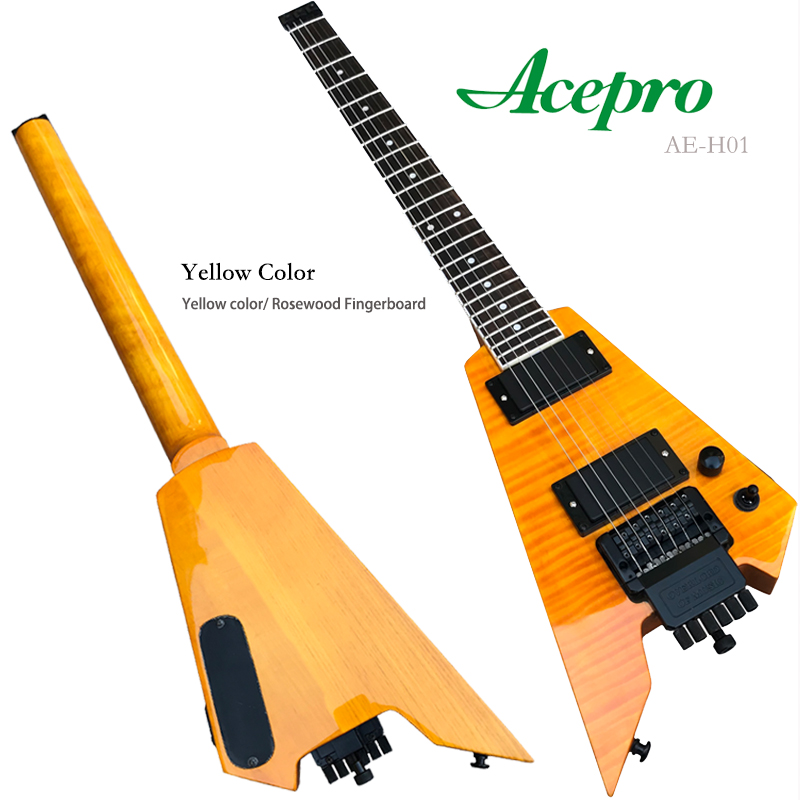 Acepro Hardware Tremolo-Bridge Travel-Guitar Flame Headless Black Maple-Top Yellow New-Style title=