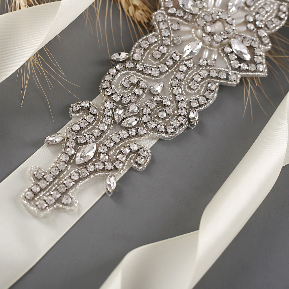 TRiXY S26 Stunning Rhinestones Belt Bridal Belt Diamond Wedding Dress Belt Crystal Wedding Sash For Wedding Dress Accessories