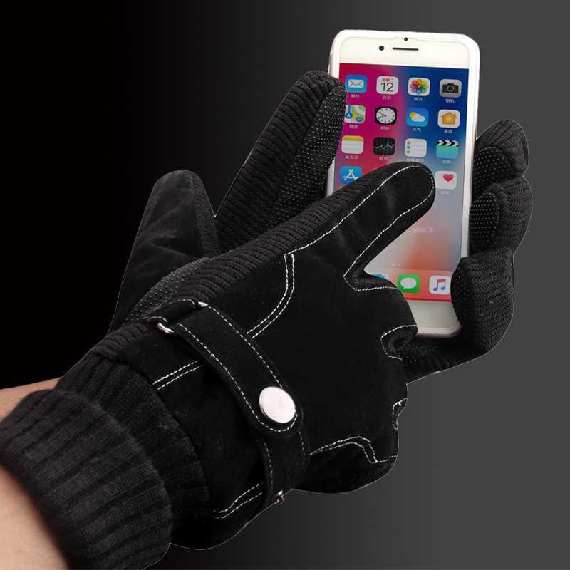 Echtes Leder winter handschuhe Männer der mode winddicht wasserdicht slip plus samt dicken gestrickt außen radfahren übung
