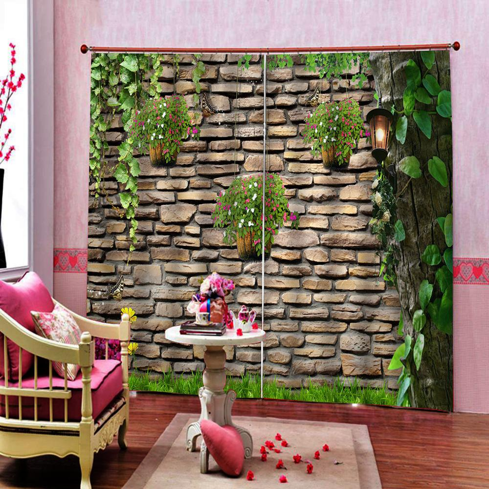 Green vine Customized size Luxury Blackout 3D Window Curtains For Living Room brick curtains wall blackout curtain