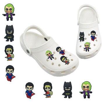 1-5pcs Super Heros Movie Joker Wonder PVC Shoe Charms Accessories Shoe Decor Jibz For Croc Charms For Bracelets Kids Gift