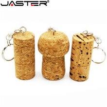 JASTER Gỗ nút chai đèn LED CỔNG USB rừng gỗ cắm Pendrive 8GB 16GB 32GB 64GB Thẻ nhớ Logo tùy chỉnh với móc khóa quà cưới