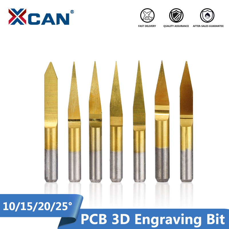 10pcs 3.175mm Shank 10/15/20/25 Degrees Carbide V Shape PCB 3D Engraving Bits CNC Router Carving Bit  PCB Machine Milling Tools