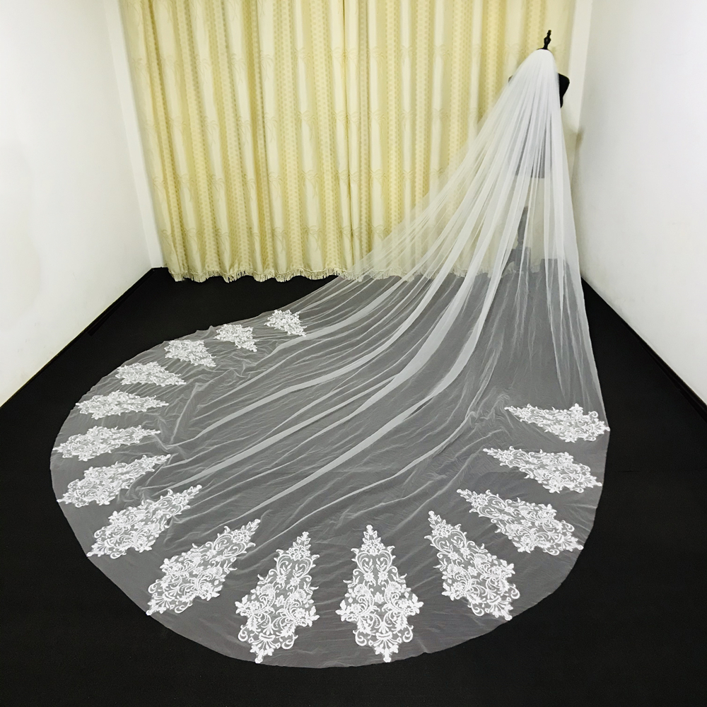 Real Photos Cathedral Wedding Veils Custom Made Lace Applique Tulle Bridal Veil 3.5M Long Wedding Veil Wedding Accessories