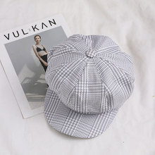 Wholesale Cotton Female Art Octagonal Hat Fashion Women Vintage Beret Cap men lattice Flat Peaked Striped Retro British