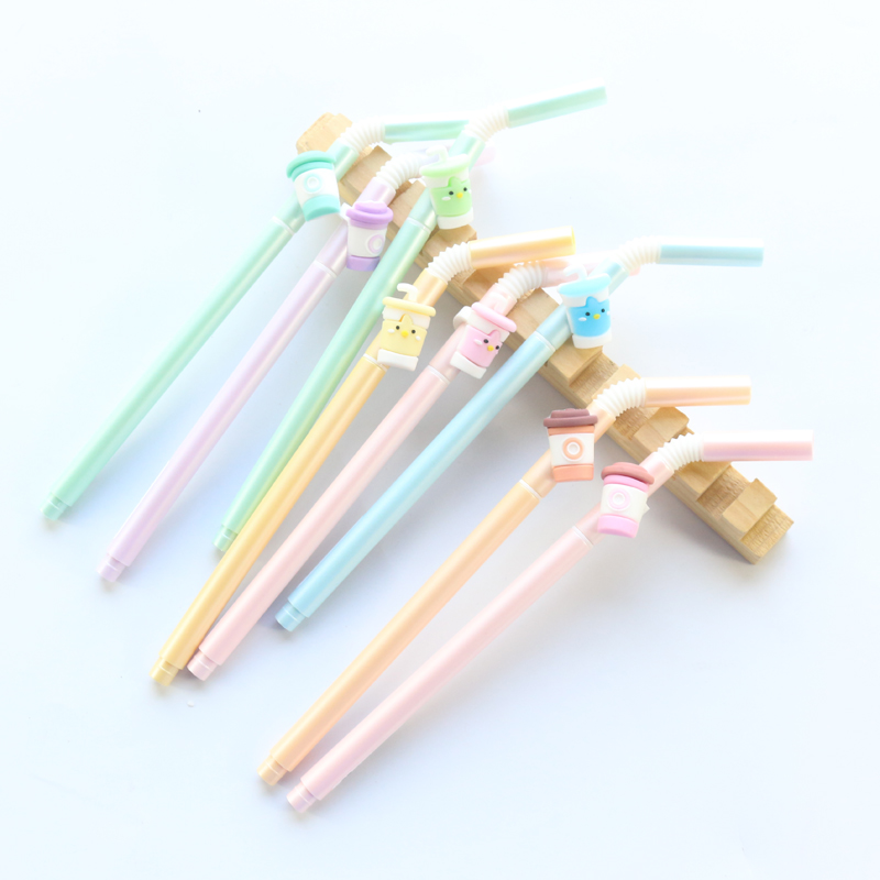 Domikee Cute Korean Kawaii Drinking Straws Sereis School Student Gel Pens Stationery Supplies,8 Colors,with 0.5mm Black Refill