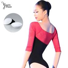 New Dance Practice Bodysuit Leotard Adult Black Red Stitching Jumpsuit High Quality Chiffon Lace Ballet Dancing Costume 2020