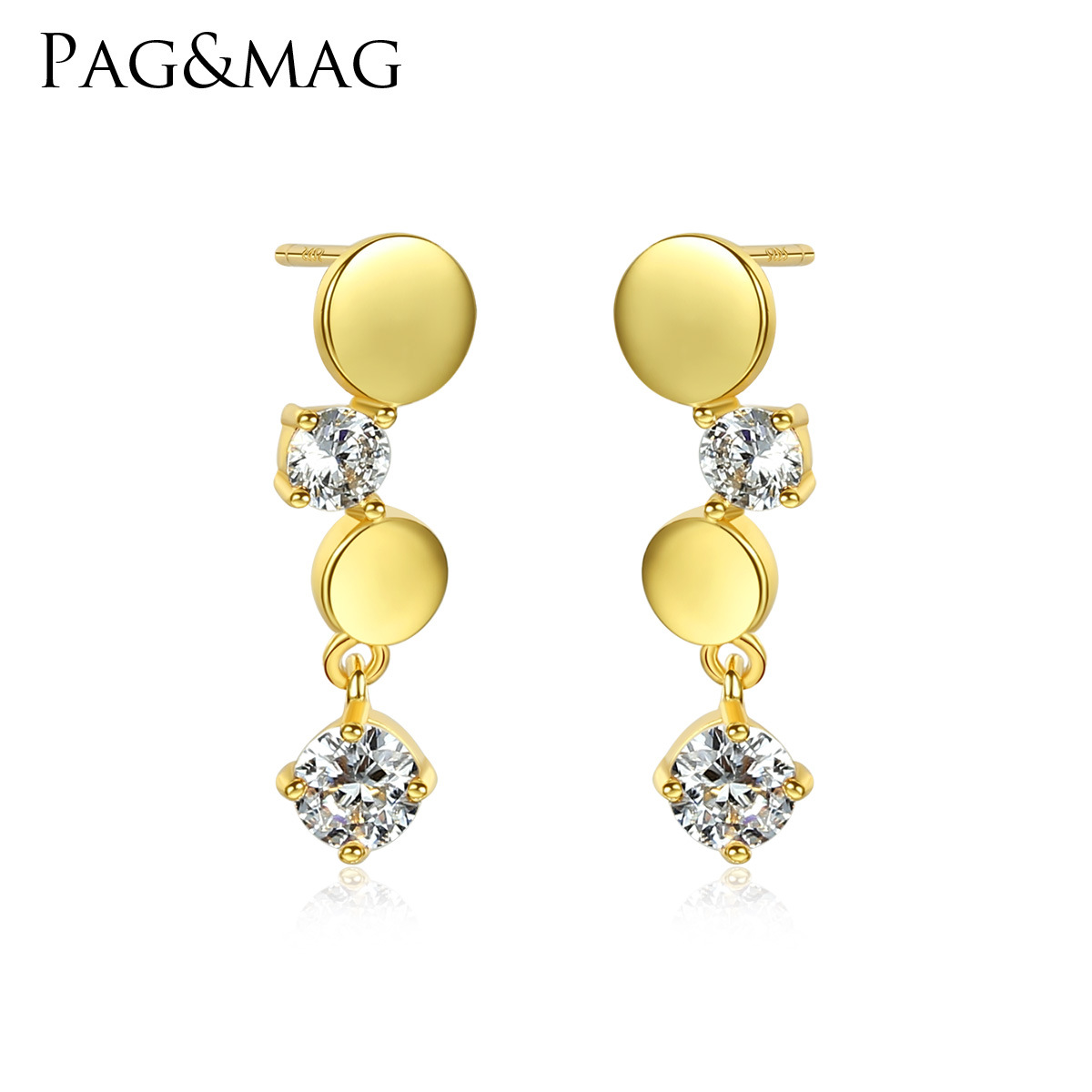 PAG & MAG S925 placage d'argent 18K simple belle argent incrusté de zirconium bijoux Mini boucles d'oreilles japonaises et coréennes