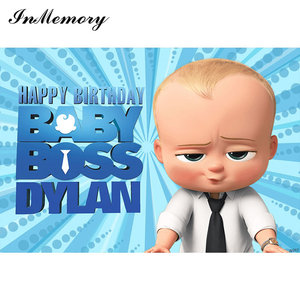 Image 2 - InMemory Blue Theme Baby Boss Photography Backdrop Baby Shower 1st Birthday Party Backdrop For Photo Studio Vinyl Photocall