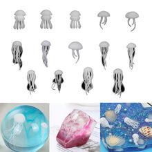 1-5 uds 3D Mini medusas modelo de cristal océano resina de relleno para manualidades DIY joyería rellenos decoración materiales