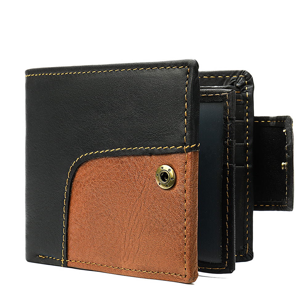 Men's Genuine Leather Wallet Card Holder Male Fashion Purse Small Hasp Money Bag Mini Vintage Slim Wallets Clutch Bags Carteira