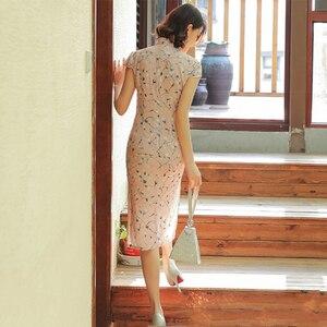Image 2 - Шелковое платье Ципао Sheng Coco, атласное женское традиционное китайское платье, длинное розовое элегантное вечернее платье Ципао