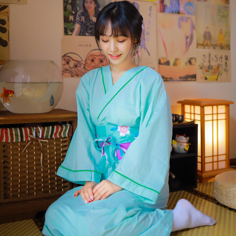 Japanese-style Kimono Yukata кимано Women Hot Spring Kimono Home Clothes Japanese Bathrobe Nightgown Samurai