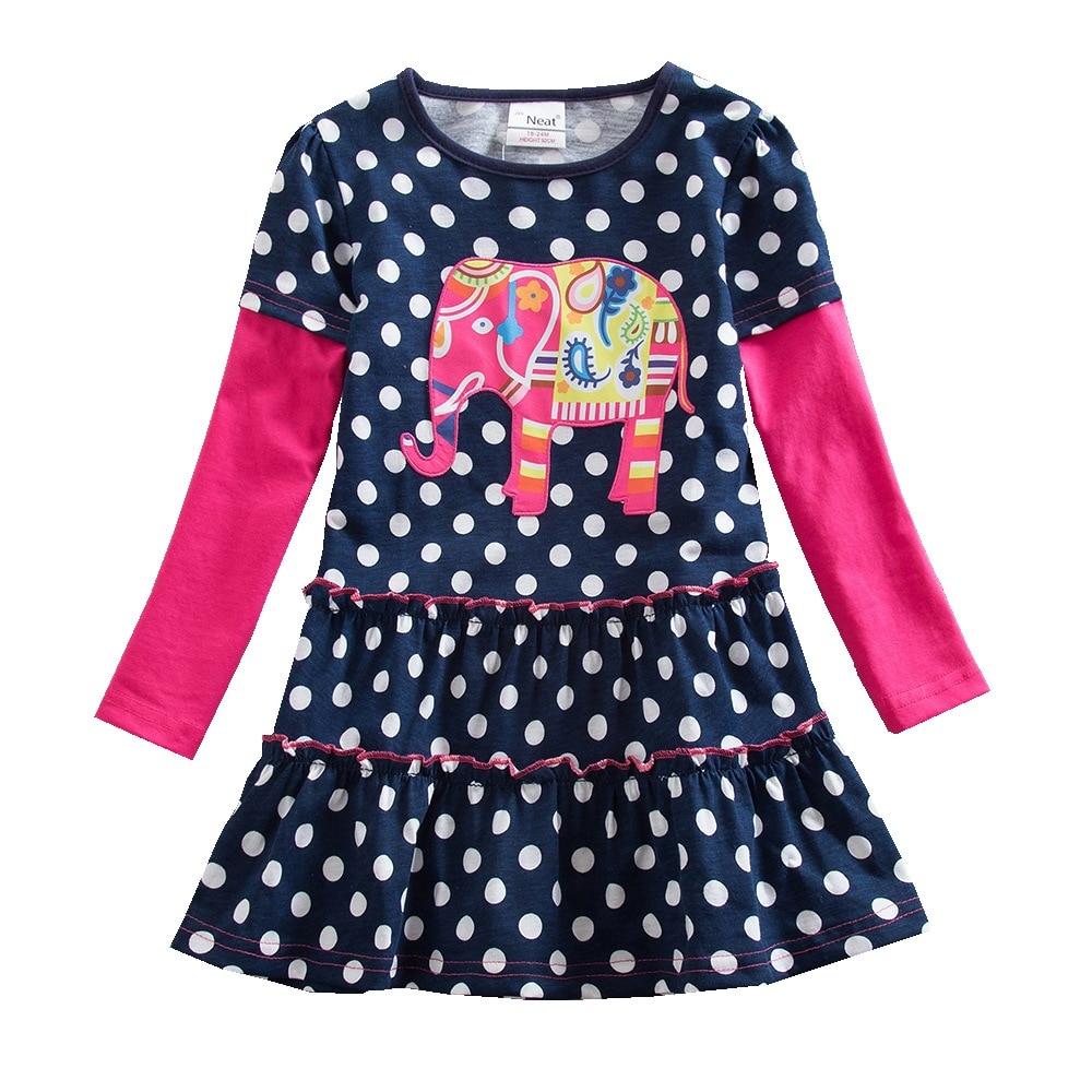 Baby Mädchen Kleid ordentlich Rundhals Baumwolle Mädchen Kleidung Punkt Elefant Muster Druck Mädchen Langarm Kleid Mädchen Prinzessin Kleid LH605