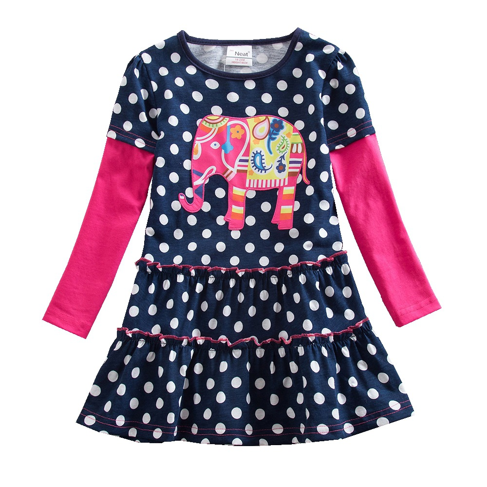 Baby φόρεμα κοριτσιού τακτοποιημένο γύρο λαιμό βαμβακερό κορίτσι ρούχα dot μοτίβο ελέφαντα εκτύπωση κορίτσι μακρύ μανίκι φόρεμα κορίτσι πριγκίπισσα φόρεμα