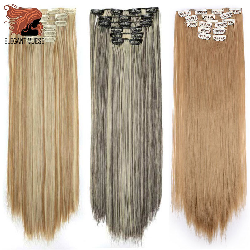 ELEGANT MUSES  22inch Long Straight 16Clips In Hair Extensions Synthetic Fake Hairpiece False Hair Clips Real Natural