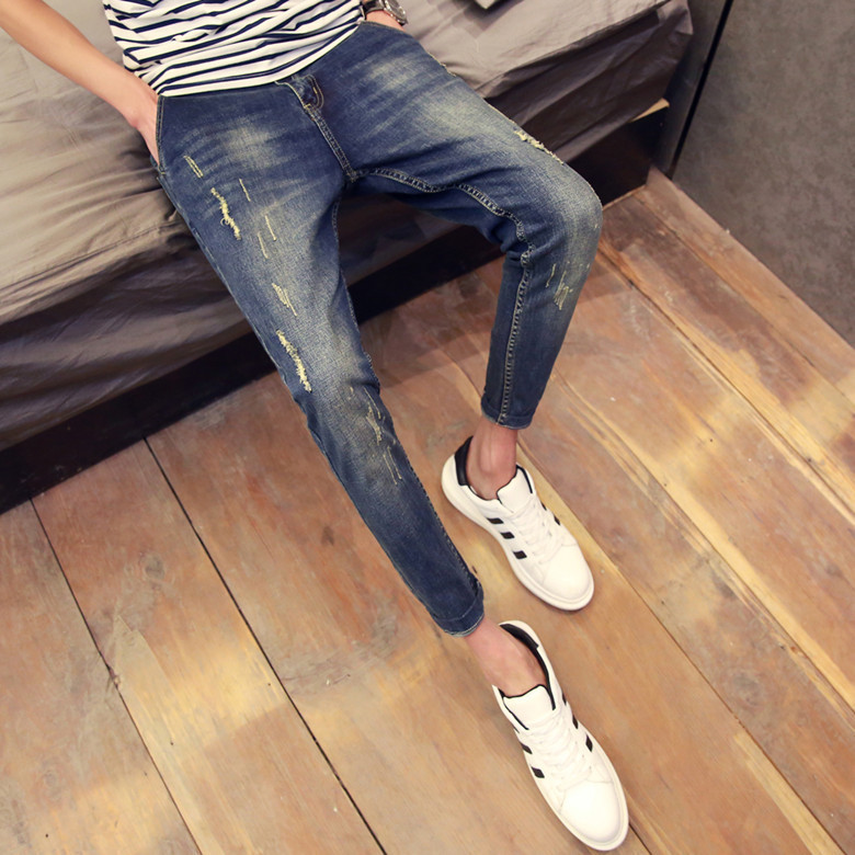 Spring And Summer Korean-style Slim Fit Capri MEN'S Jeans Teenager Skinny Pants Retro With Holes 9 Points Pants Men'S Wear