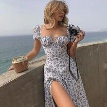 2021 Vintage Women's Fashion Puff Sleeve Dress, Floral Tie-Neck High Slit Long punk rave dress