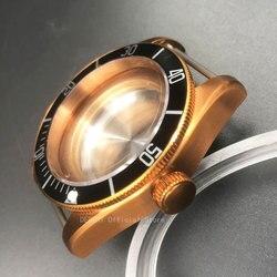 41mm Uhr Teile herren schwarz Lünette Uhren Fall Messing kaffee PVD Beschichtet Fall Fit ETA 2836/2824 miyota 8215/ 82 automatische Bewegung